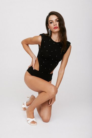 Black Diamante Sleeveless Cut Out Bodysuit