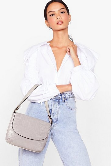 Grey Faux Leather flap Shouler Bag
