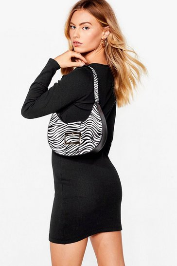 White WANT Herd It Here First Zebra Shoulder Bag