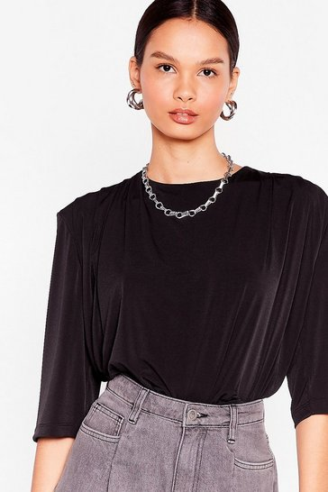 Black Drape Detail Shoulder Pad T-Shirt
