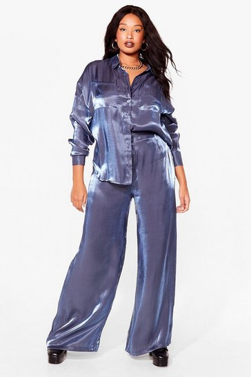 Blue Shimmer of Hope Plus Wide-Leg Pants