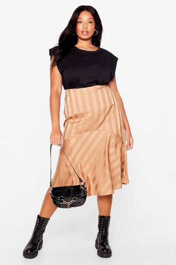 Blush Total Stripe Out Plus Midi Skirt