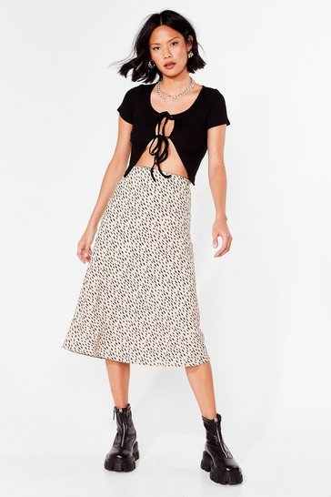 Beige Spot the Difference Bias Cut Midi Skirt