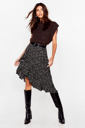 Black Spot the Difference Abstract Midi Skirt