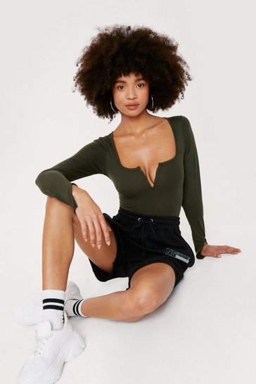 Khaki Ribbed Notched Long Sleeve Top
