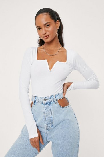 White Ribbed Notched Long Sleeve Top