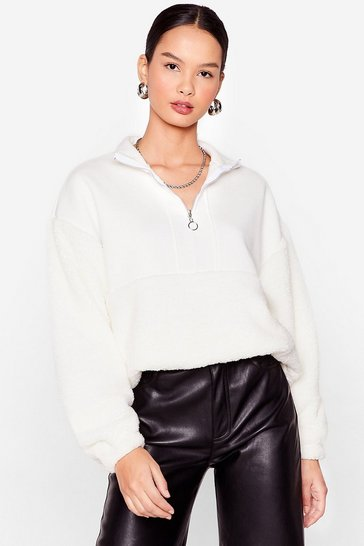 Cream Are You Teddy to Go Oversized Zip Sweatshirt