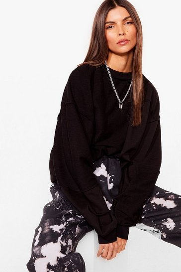 Black Seam Looking for You Oversized Sweatshirt