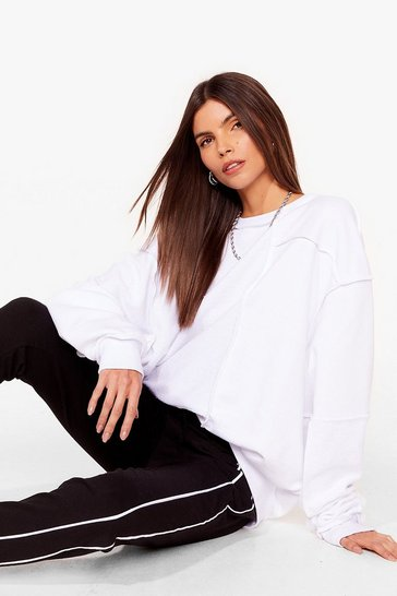 White Seam Looking for You Oversized Sweatshirt