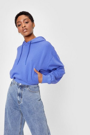 Violet Pocket a Move On Cropped Oversized Hoodie