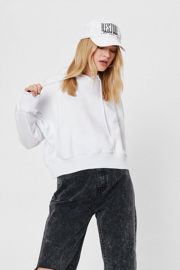 White Cropped Oversized Long Sleeve Hoodie
