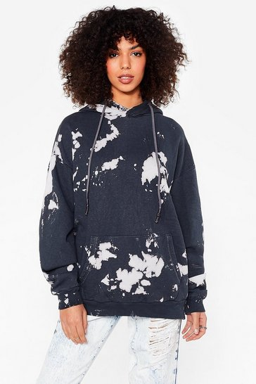 Charcoal Make a Splash Oversized Tie Dye Hoodie