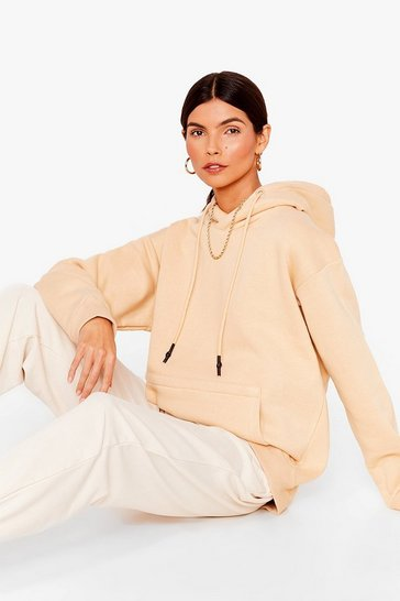 Cream Pullover Pocket Front Oversized Hoodie