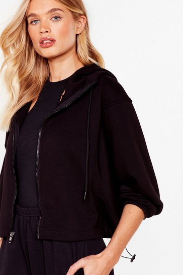 Black Relaxed Cropped Zip Through Drawstring Hoodie