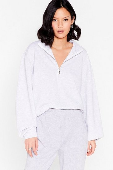 Oatmeal Zip's the New Style High Neck Relaxed Sweatshirt