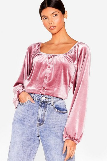 Mauve Better Make a Smooth Velvet Puff Sleeve Blouse