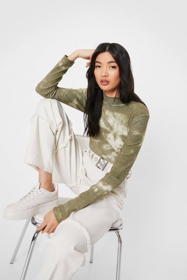 Khaki The Future's Bright Tie Dye High-Leg Bodysuit