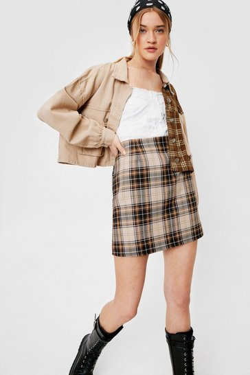Brown Split the Check High-Waisted Mini Skirt