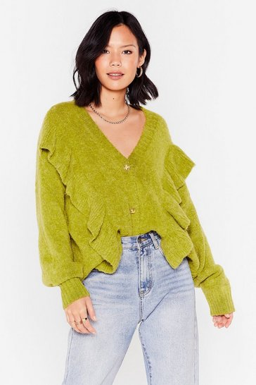 Green Bring Knit Button Oversized Ruffle Cardigan