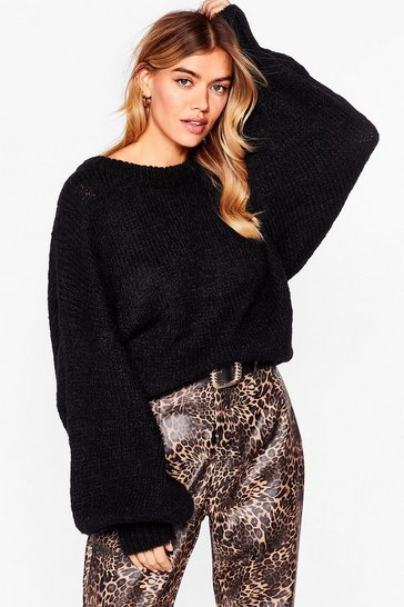 Black Knit's Gotta Happen Relaxed Longline Jumper
