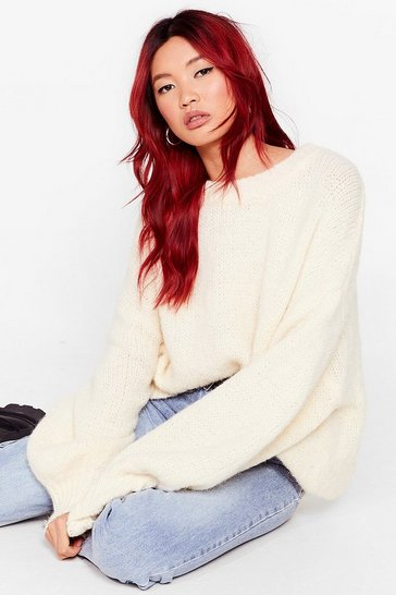 Cream Knit's Gotta Happen Relaxed Longline Sweater
