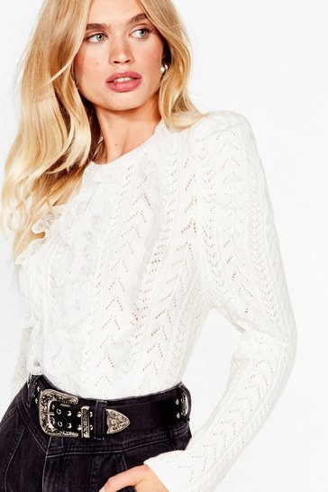 Cream Puff Shoulder 'Em How Knit's Done Ruffle Sweater