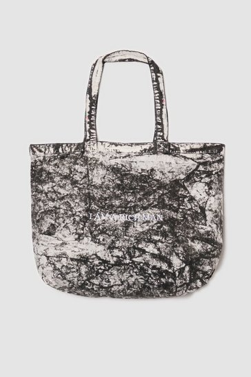 Dark grey I am a Rich Man Acid Wash Tote Bag