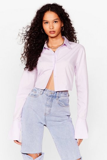 Lilac Think Out the Boxy Cropped Shirt