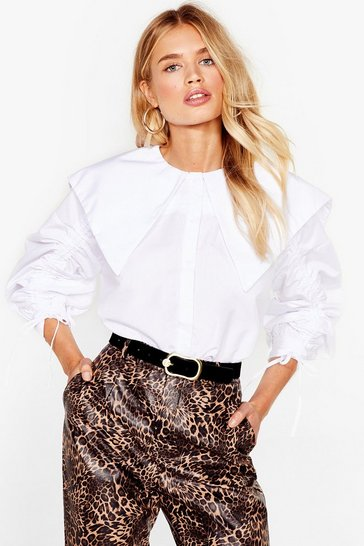 White Ruched Sleeve Collar Shirt