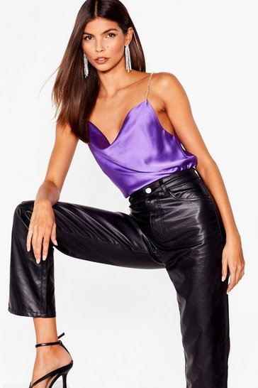 Purple Looking Shine Satin Cami Top