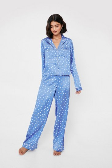 Dusty blue Star Print Satin Pajama Shirt and Pants Set