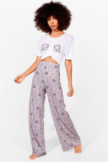 White What Planet Are You On Wide-Leg Pants Pajama Set