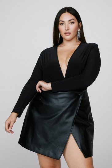 Black Way Down Low Plus Shoulder Pad Bodysuit