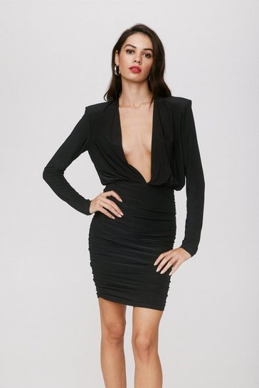 Black Deeps and Bounds Plunging Mini Dress