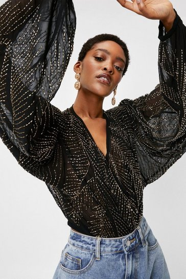 Black Beaded V Neck Batwing Sleeve Blouse