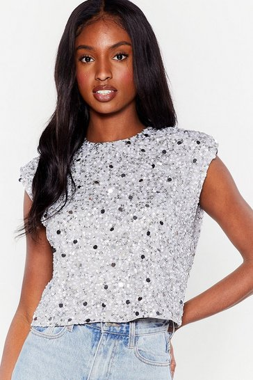 Silver We Always Sequin Shoulder Padded Crop Top