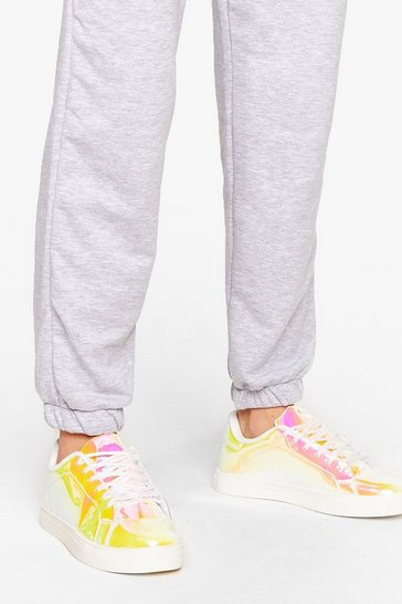 Pink Dancing Out in Space Holographic Platform Trainers