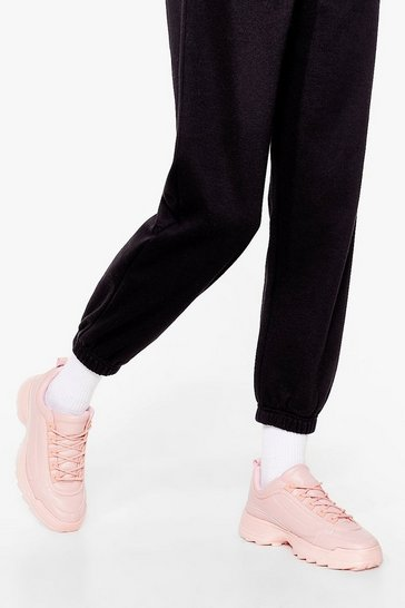 Pink Faux Leather razor sole sneakers