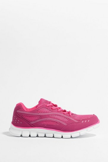Fuchsia Mixed fabric contrast lace Up work out Trainers