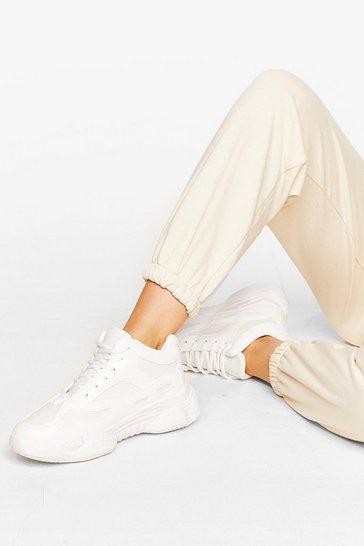 White Mesh Your Match Faux Leather Chunky Sneakers