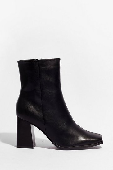 Black Square the News Faux Leather Heeled Boots