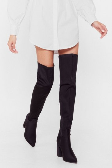 Black Faux Suede For You Over-the-Knee Wide Fit Boots