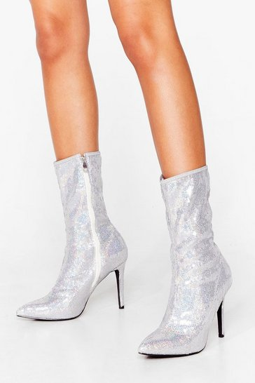Silver Sequin stiletto sock Boot