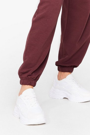 White Run With It Faux Leather Chunky Trainers
