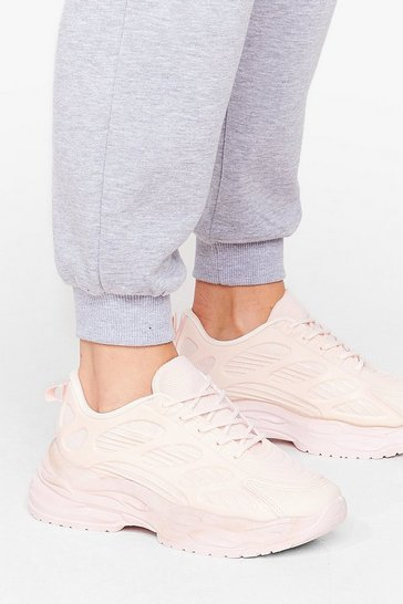 Pink Keep On Track Chunky Lace-Up Trainers
