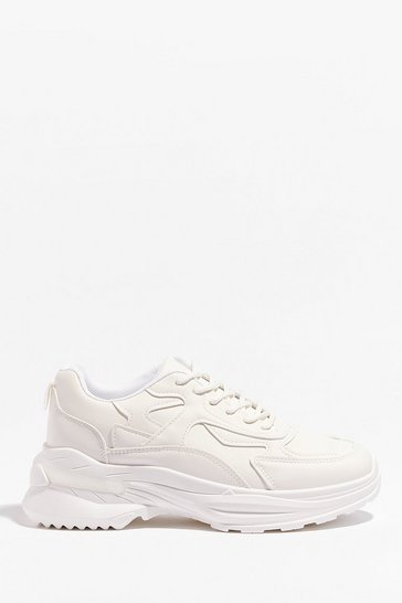 White They'll Come Running Faux Leather Chunky Sneakers
