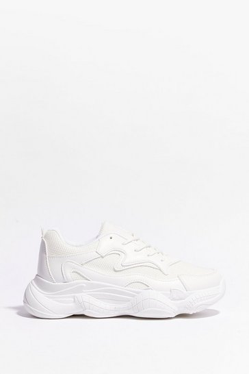 White Keep Me Running Faux Leather Chunky Sneakers