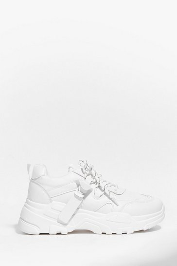 White Looks Hike Love Faux Leather Chunky Sneakers