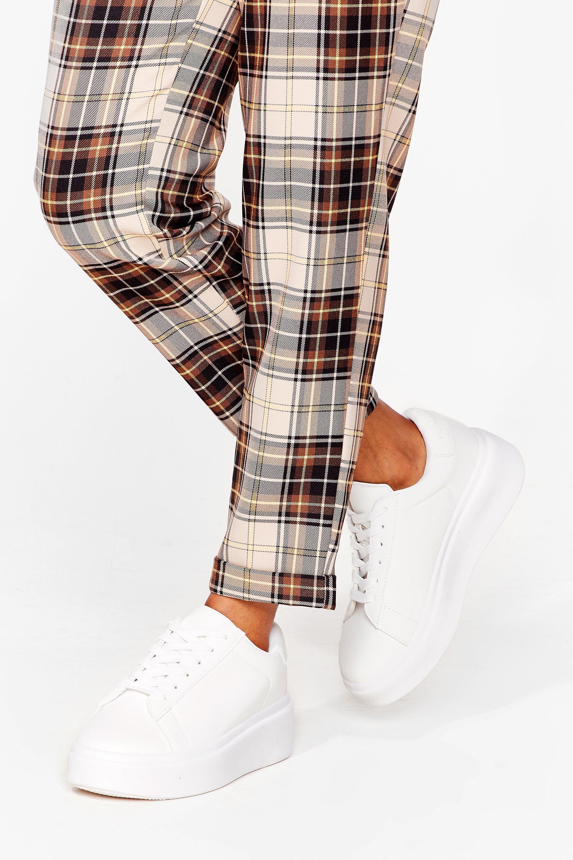 Faux Leather mono flatform lace up sneaker