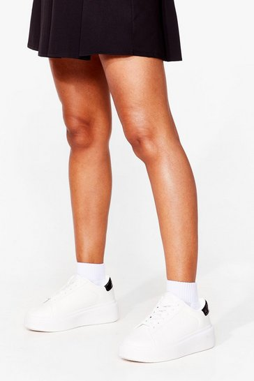 White Watch Your Tone Faux Leather Chunky Trainers